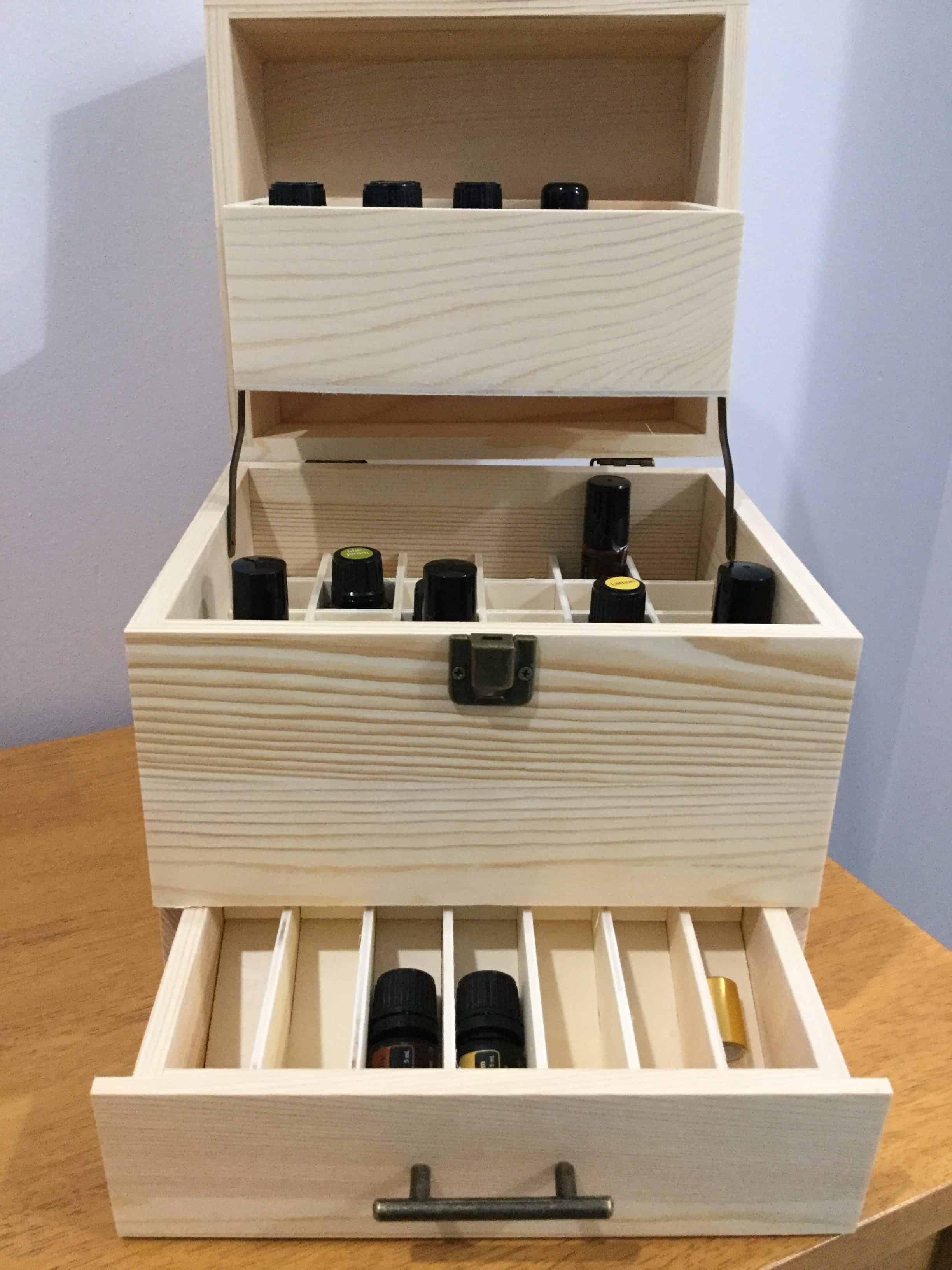 Essential Oil Storage Wooden Box 59 Capacity 3 Tier